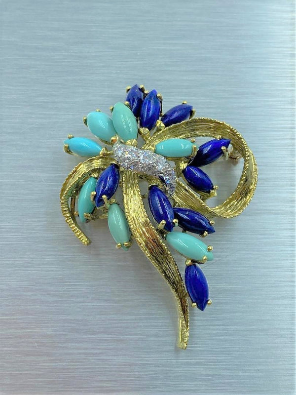 18K Yellow Gold Diamond, Lapis & Turquoise Textured Ribbon Brooch