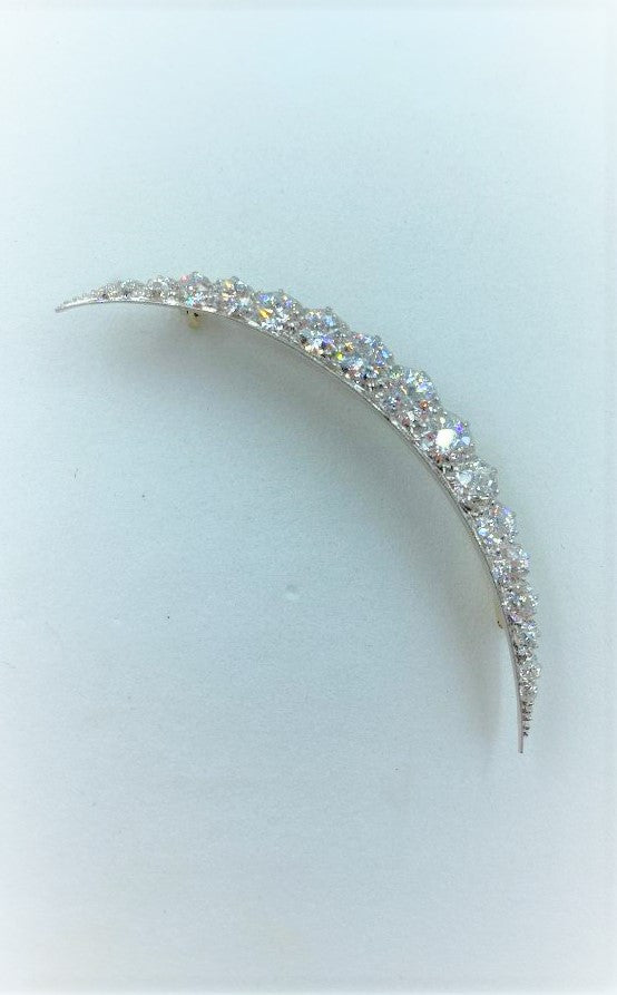 18K Yellow Gold/Platinum & Diamond Crescent Brooch