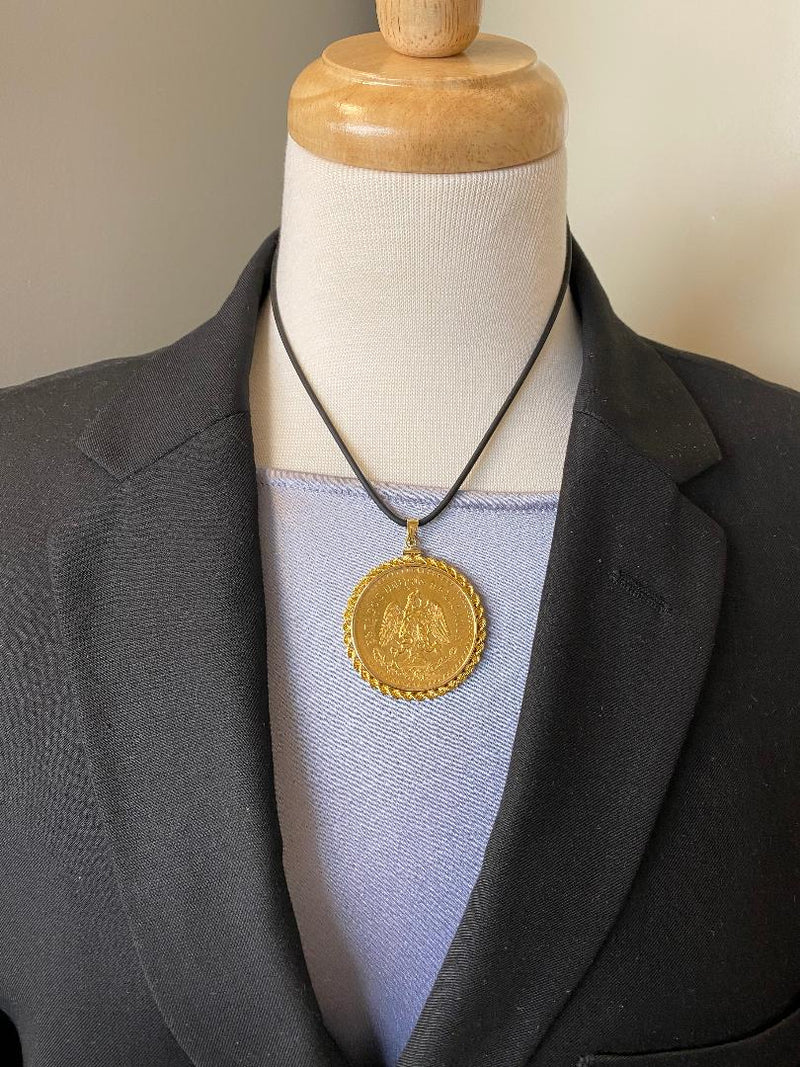 14K Yellow Gold Rope Edge Coin Pendant