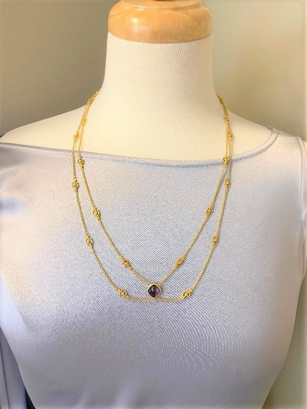 14K Yellow Gold & Amethyst Antique Festoon Necklace