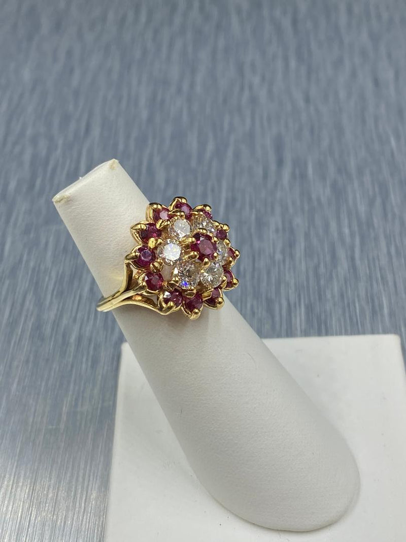 18K Yellow Gold Ruby & Diamond Cluster Ring