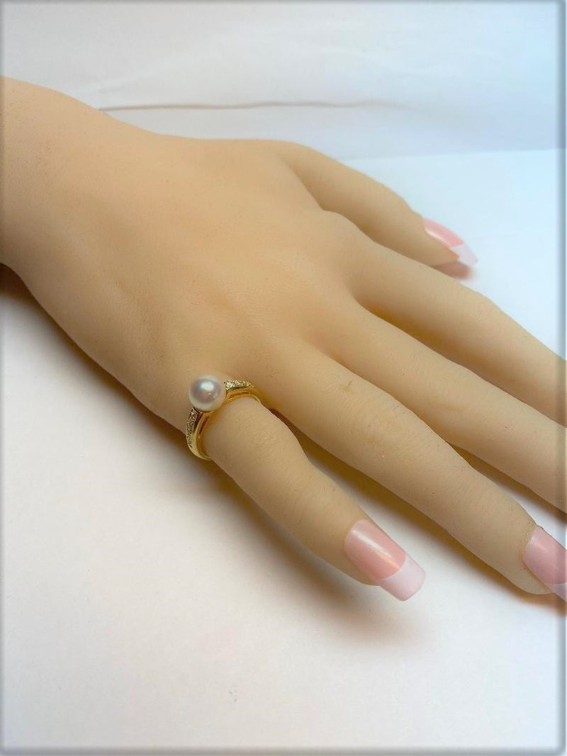 18K Yellow Gold Mikimoto Cultured Pearl Ring