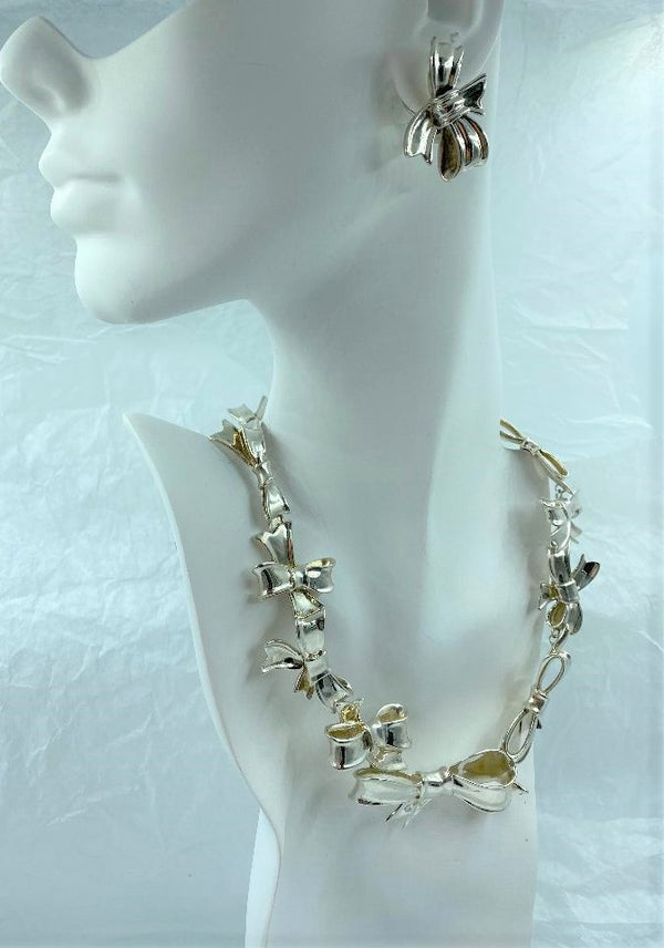 Angela Cummings Sterling Silver Set Bow Earrings and Graduated Necklace