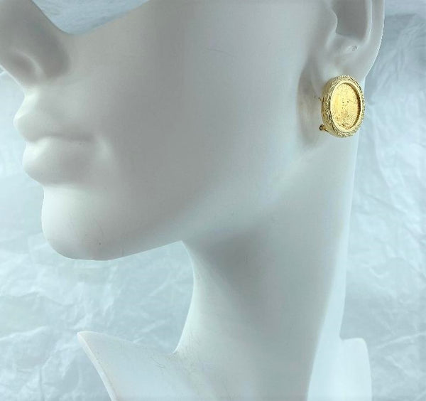 Pair 14K Yellow Gold $5 Liberty Coin Earrings