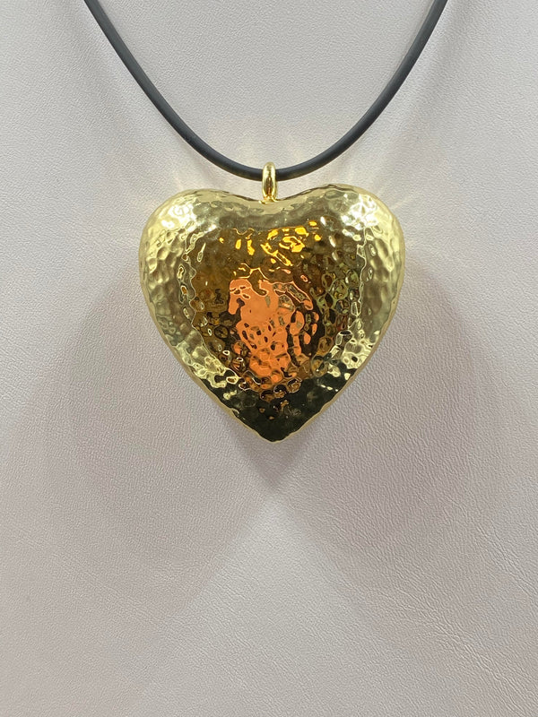 18K Yellow Gold Ippolita Hammered Puffed Heart Pendant
