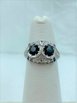 Platinum Antique Filigree Sapphire & Diamond Ring