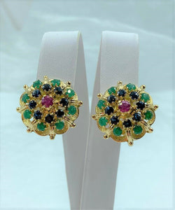 Pair 14K Gold Ruby, Sapphire and Green Chalcedony Cluster Earrings