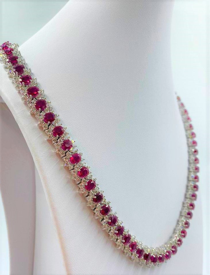 18K White Gold Ruby & Diamond Necklace