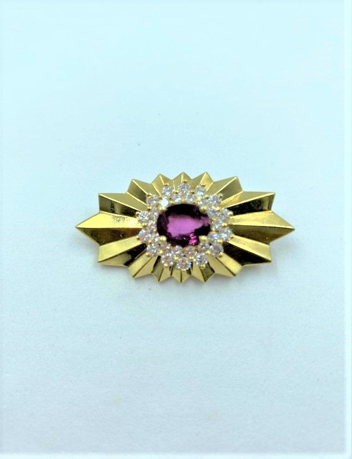 18K Yellow Gold Ruby & Diamond Sunburst Brooch