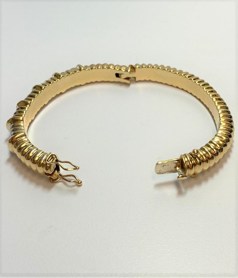 14K Yellow Gold Hinged Ribbed Diamond Bracelet