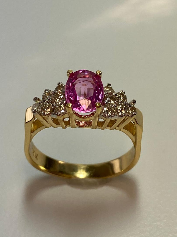18K Yellow Gold Pink Sapphire & Diamond Ring