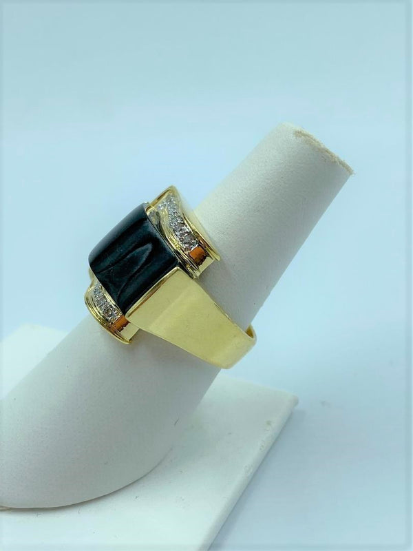 18K Yellow Gold Diamond & Black Onyx Buckle Ring