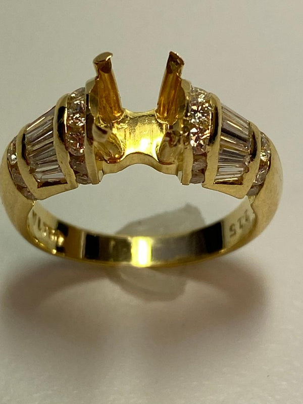 18K Yellow Gold Diamond Semi Mount