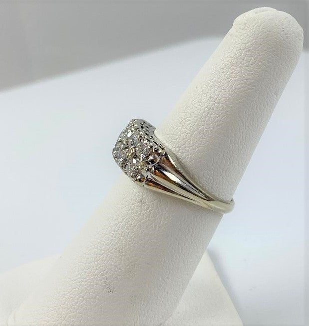 14K White Gold 2 Row Diamond Band