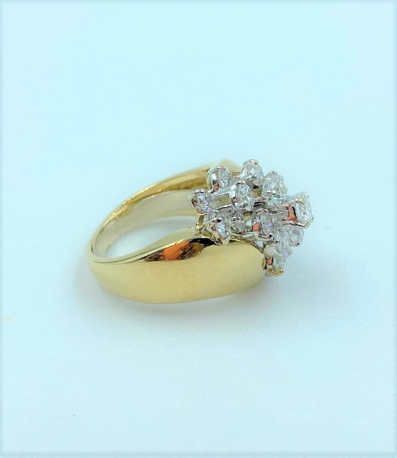 14K Yellow Gold Diamond Waterfall Ring