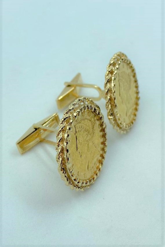 Pair 14k Yellow Gold $5 US Liberty Coin Cuff Links