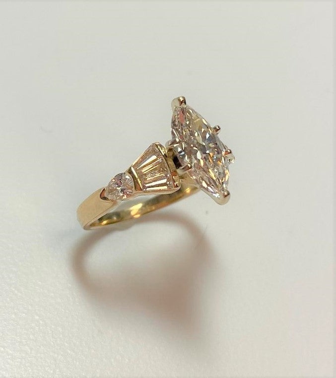 14K Yellow Gold Marquis Cut Diamond Engagement Ring