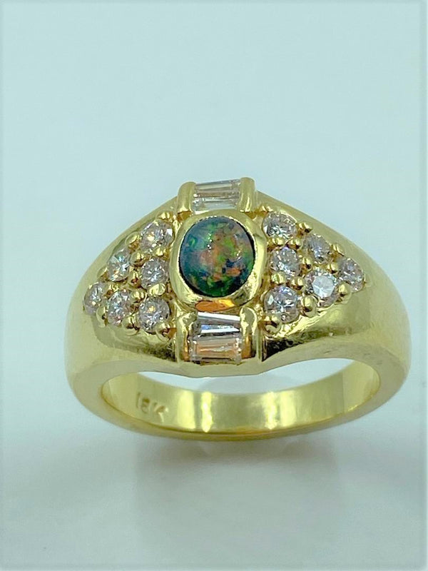 18K Yellow Gold Black Opal & Diamond Ring