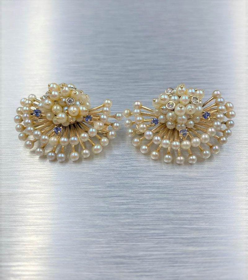 Pair 14K Yellow Gold Fan Motif Cultured Pearl Brooches