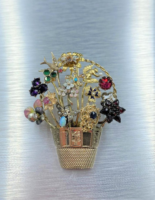 14K Yellow Gold Multi-Gemstone Jardiniere Brooch