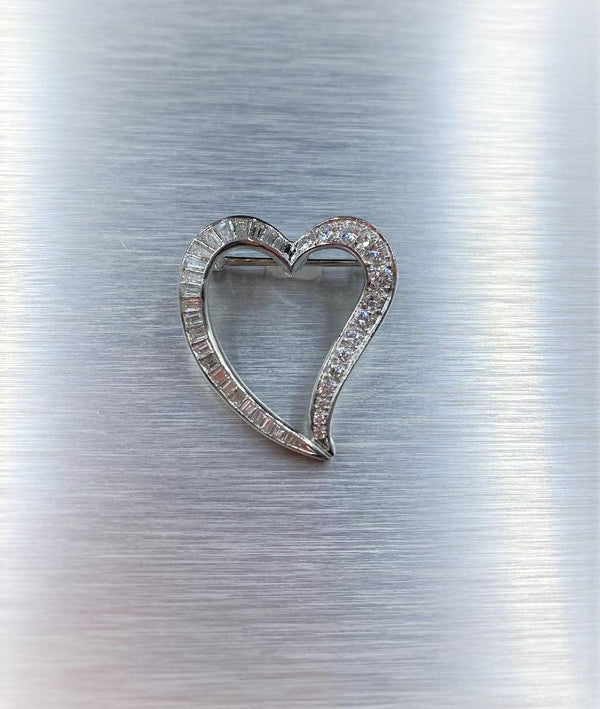 Platinum & Diamond Heart Brooch