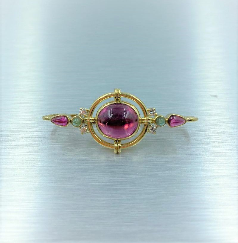 18K Yellow Gold His/Hers Tourmaline & Diamond Bar Pin