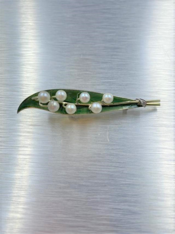 10K Yellow Gold Enamel & Pearl Leaf Brooch