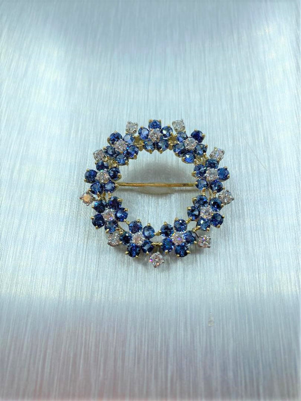 18K Yellow Gold/Platinum Sapphire & Diamond Handmade Circle  Brooch/Pendant