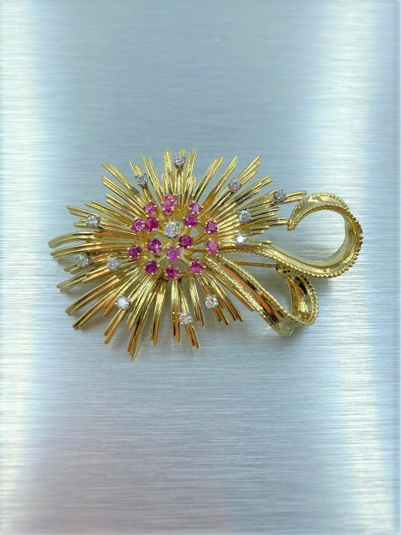 18K Yellow Gold Diamond & Ruby Spray Brooch