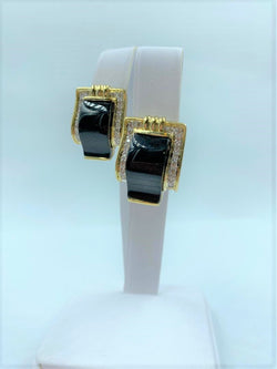 Pair 18K Yellow Gold Diamond & Black Onyx Buckle Earrings