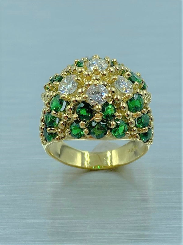 18K Yellow Gold Tsavorite & Diamond Dome Ring