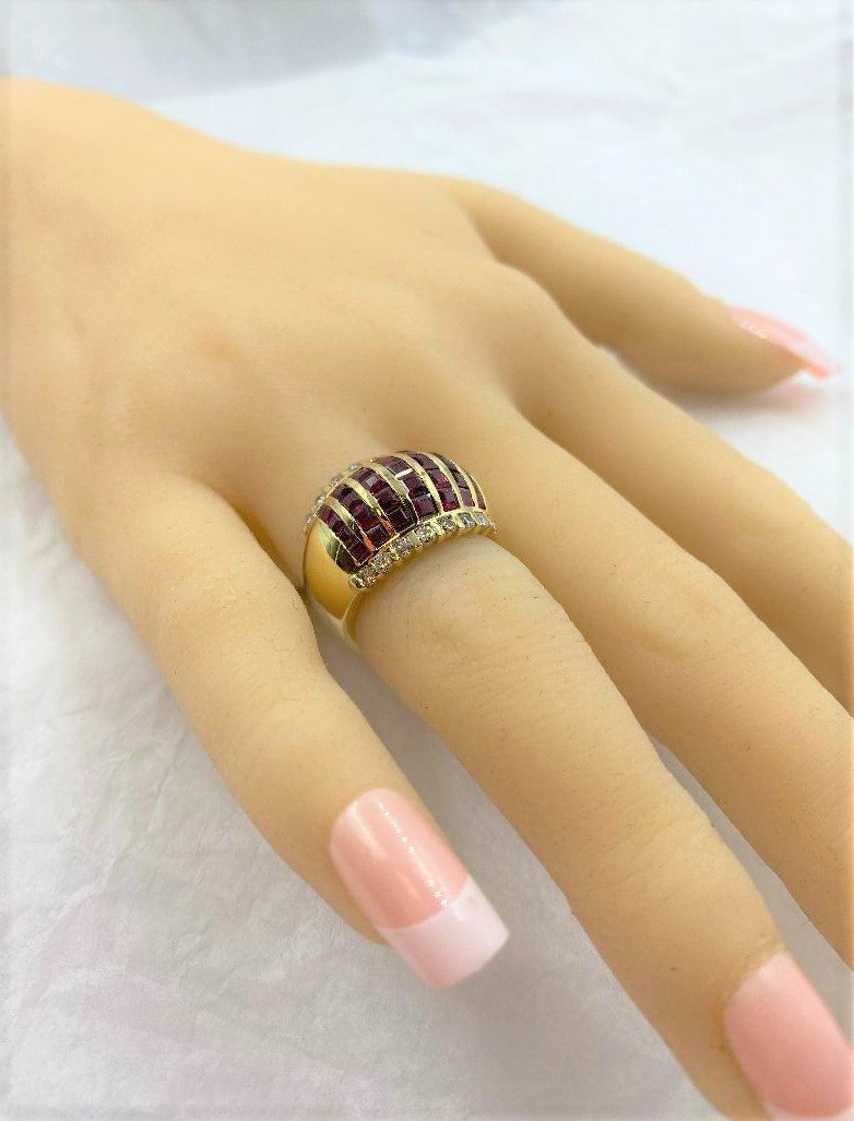 14K Yellow Gold Dome Ruby & Diamond Ring