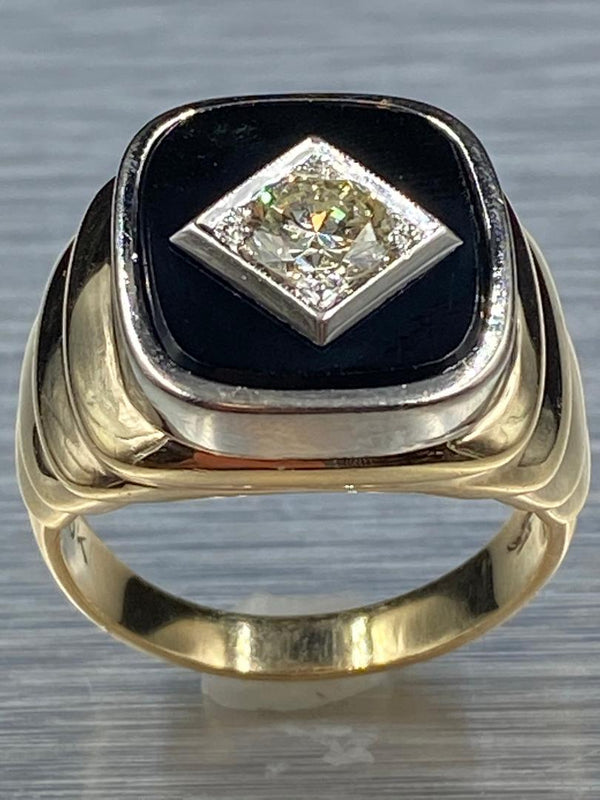 10K Yellow Gold/White Gold Gents Black Onyx & Diamond Ring