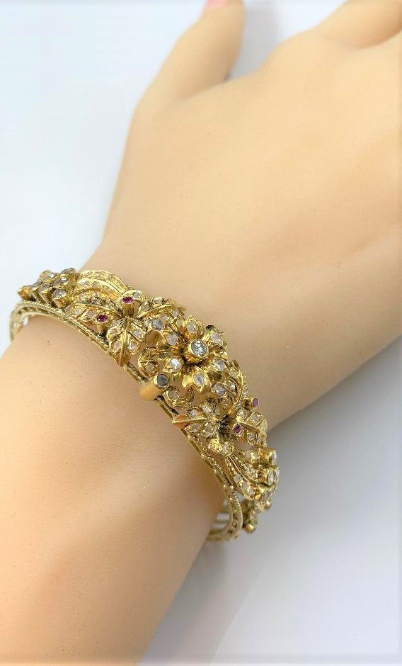 14K Yellow Gold Double Hinged Ruby & Diamond Bracelet
