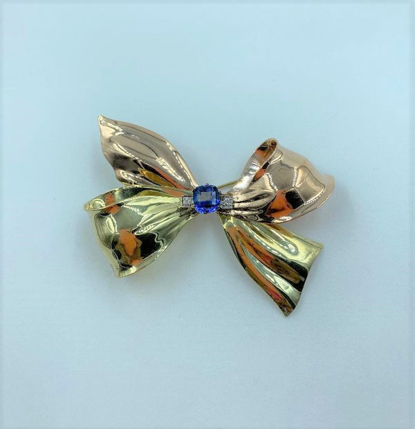 14K Yellow Gold/Rose Gold Sapphire & Diamond Bow Brooch