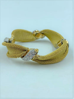 18K Yellow Gold/White Gold & Diamond Woven Mesh Bracelet