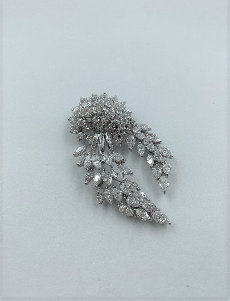 Platinum & Diamond Spray Brooch/Pendant