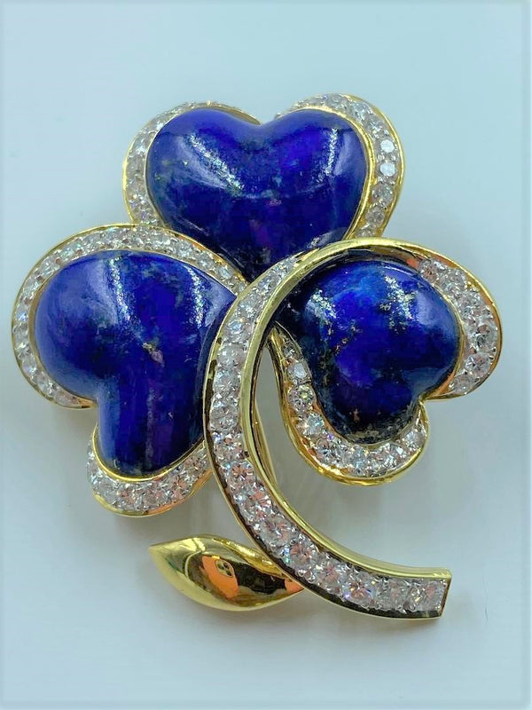 18K Yellow Gold Lapis & Diamond Clover Brooch