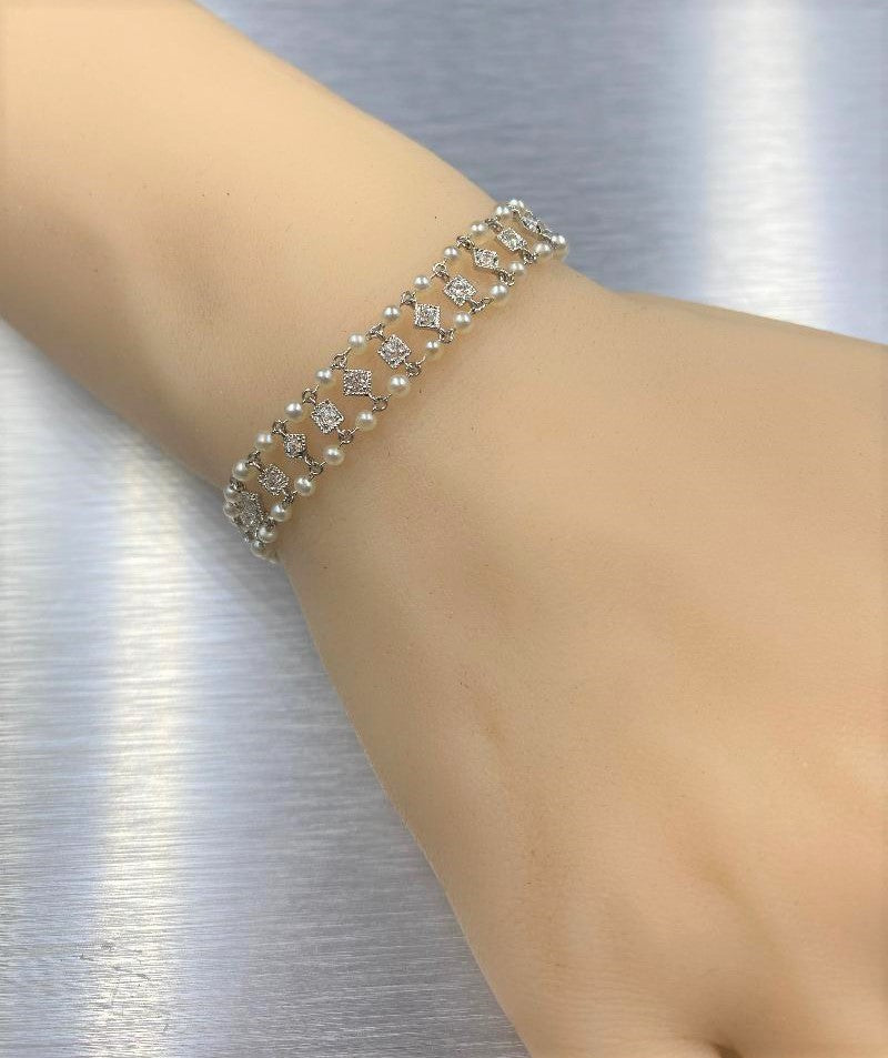 Platinum/14k White Gold Double Row Diamond & Pearl Antique/Art Deco Bracelet