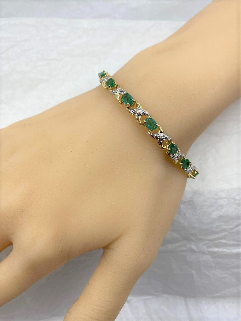 14K Yellow Gold/White Gold Emerald & Diamond Link Bracelet