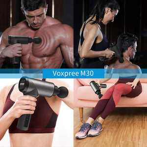 Voxpree M30 Quiet Percussion Massage Gun for Athletes, Powerful Deep Tissue Percussion Massager for Muscle Soreness Relief and Enhanced Recovery, 5 Speed Settings, 6 Massage Heads, 3400 mAh LG Battery