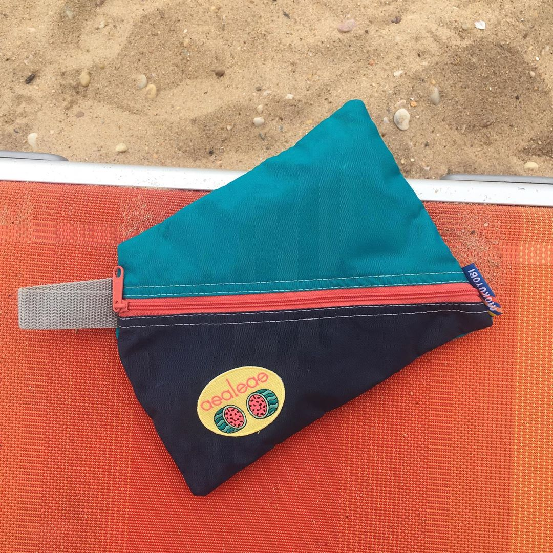 Azaleas: Diagonal Zip Swim Bag with Custom Watermelon Patch
