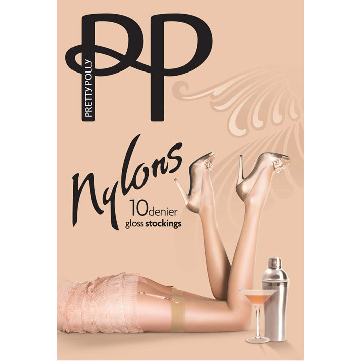 Pretty Polly: Gloss Stockings for Garter Belts - Sherry