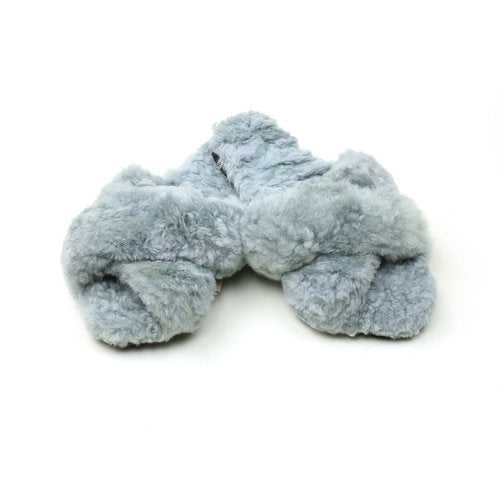 Ariana Bohling: Criss Cross Alpaca Slippers - Grey