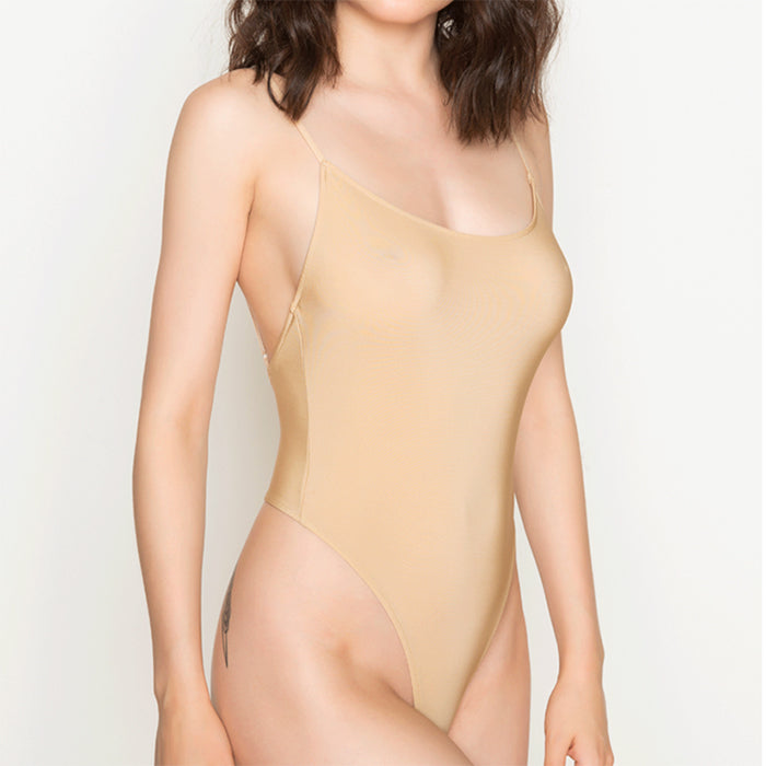 Only Hearts: Second Skin Thong Bodysuit - Beige