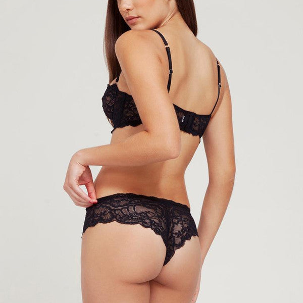 Fleur du Mal: Charlotte Lace Cheeky Brief - Black