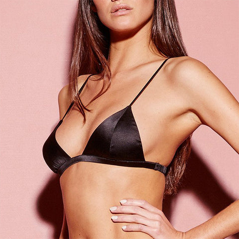 Fleur du Mal: Silk Satin Luxe Triangle Bra - Black