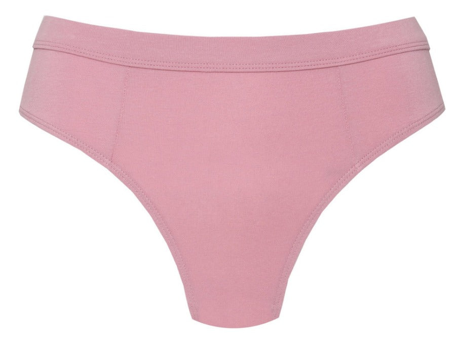 Moons and Junes: Cleo Organic Cotton High-Waisted Thong - Rose