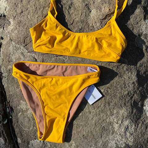 Nu Swim: Carly High-Cut Bikini Bottom - Yolk