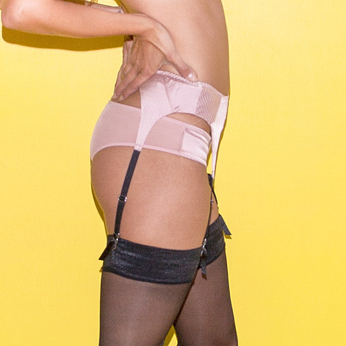 Fleur du Mal: Satin Top Stitch Garter Belt - Rose